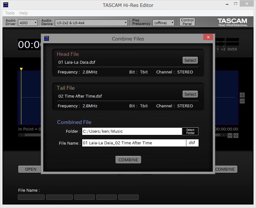 TASCAM Hi-Res Editorの結合機能
