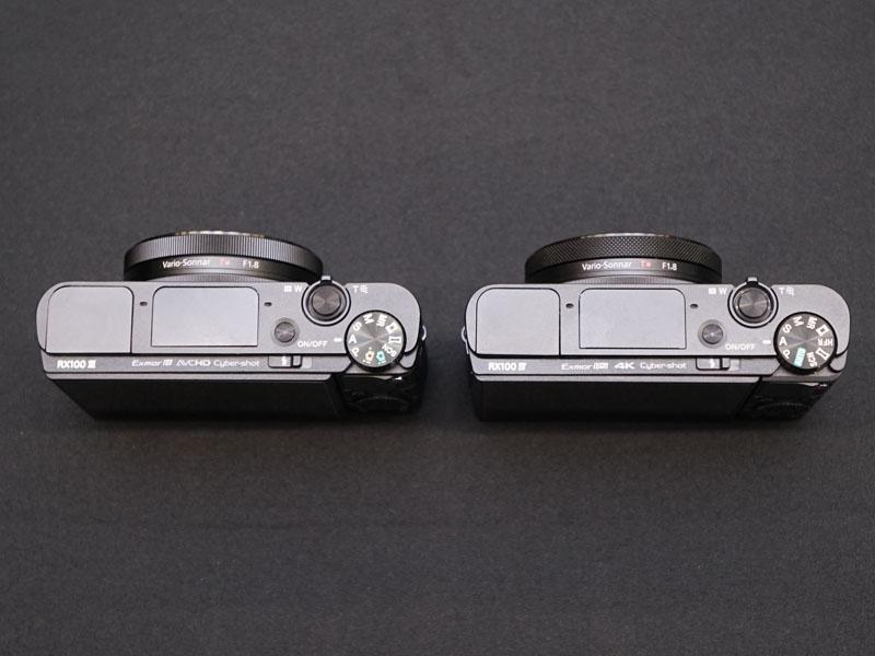 左がRX100M3、右がRX100M4。筐体のサイズや基本的な仕様は同じ