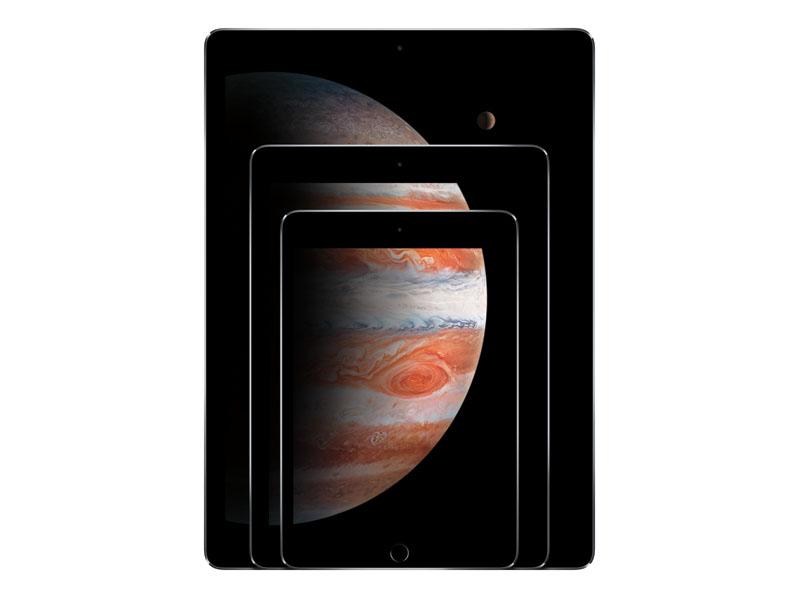 一番後ろがiPad Pro、手前へiPad Air、iPad mini