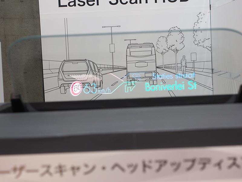 RGBレーザー光源によるHUD表示の例