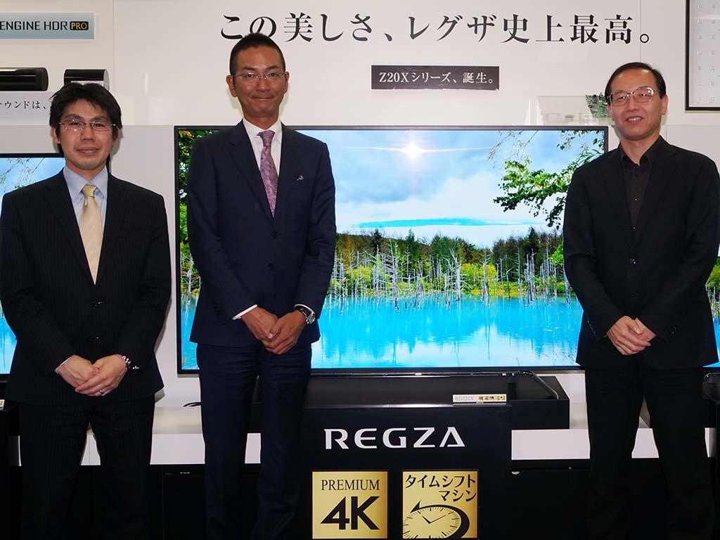 左から、プラットフォーム担当の山内氏、商品企画担当の本村氏、TV映像マイスター住吉氏
