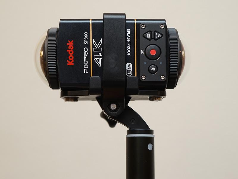 全天球撮影向けに、SP360を2台背中合わせにしてマウントできる「ダブルベースマウント」