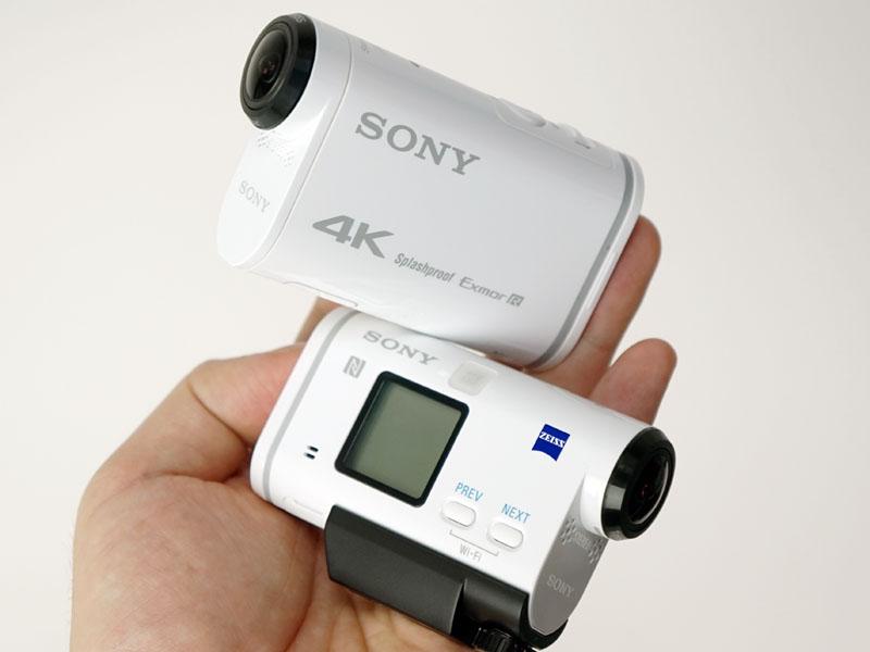 ソニーのアクションカム、上が4K対応FDR-X1000V、下がHDR-AS200V