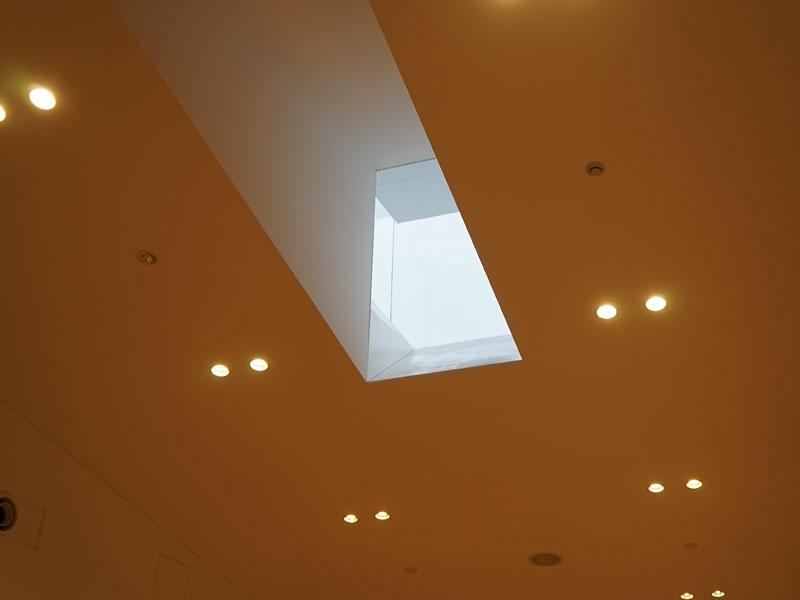 食堂施設の屋根にも、太陽光を取り入れる窓が