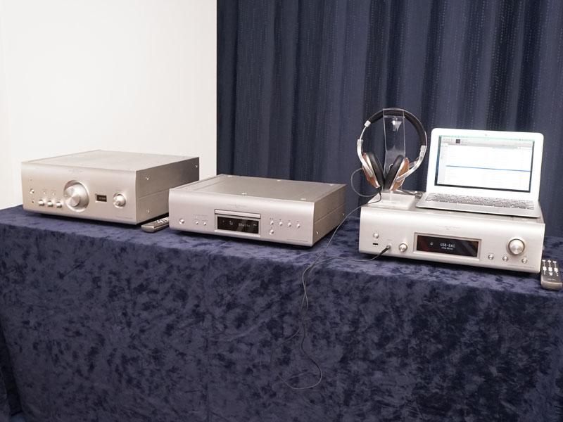 左からUSB DAC搭載のプリメインアンプ「PMA-2500NE」、SACDプレーヤー「DCD-2500NE」、USB DACとネットワークプレーヤー、ヘッドフォンアンプ機能を搭載した「DNP-2500NE」