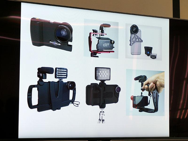 他社で発売されているスマホ用の写真・動画撮影アクセサリの例