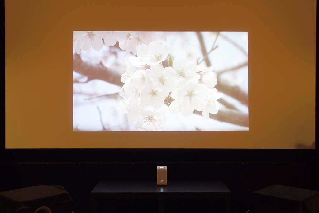 120インチスクリーンに60インチほどの大きさで投射。本体位置がごく近い場所にあることに注目