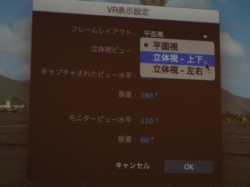 VR表示設定で、フレームレイアウトや立体視ビューなどが選べる