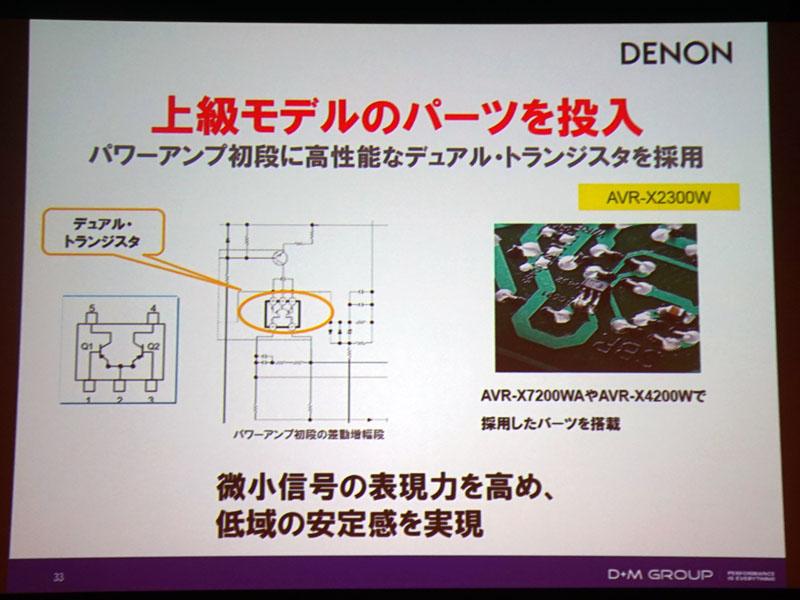 X2300Wのみの特徴として、パワーアンプの初段に高性能なデュアル・トランジスタを導入