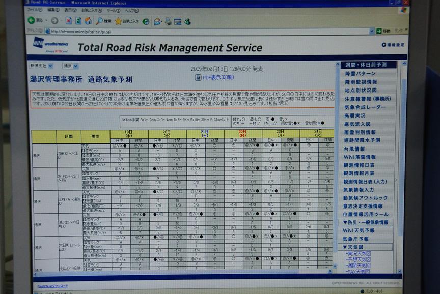 道路気象予測画面。○が晴れで◎が曇り、●が雨、×が雪の記号。湯沢管理事務所が管理するエリアを7つに分けて予測している