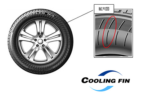 タイヤサイド部にCOOLING FINと呼ぶフィン状の加工を施し、表面積を増やすとともに空気の乱流を発生。熱交換を活発化させることでタイヤサイド部を冷却する仕組み