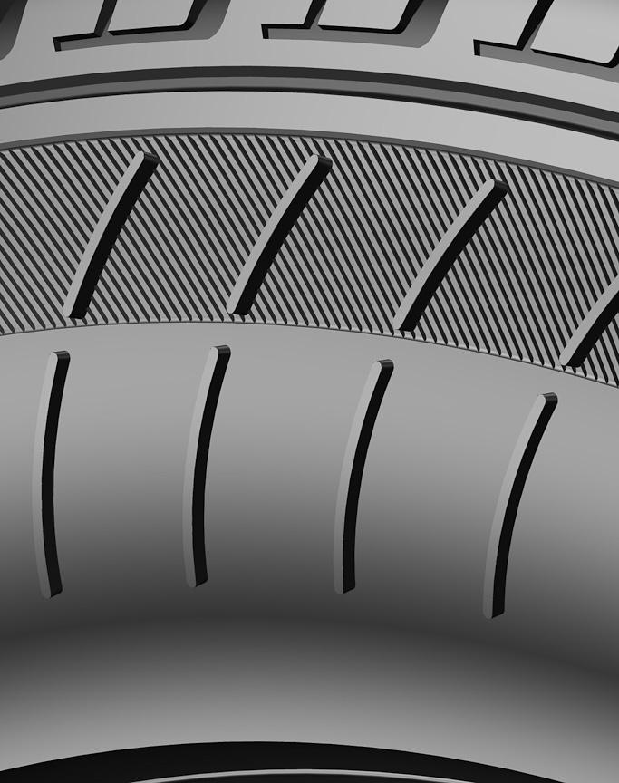 COOLING FINの拡大イメージ。タイヤの周方向と直角に配置される。中央部に空隙があるのは乱流増を狙ってのものだろうか