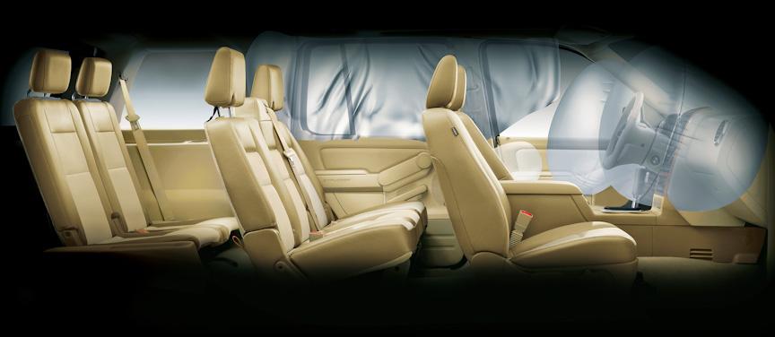 運転席助手席エアバッグ、サイドカーテンエアバッグはエクスプローラー、スポーツトラックとも全車に標準装備