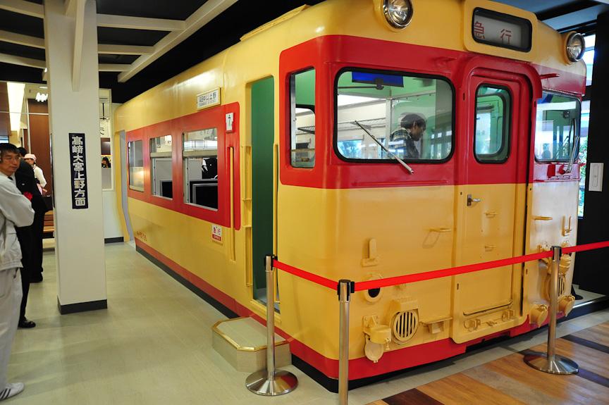 横川駅メモリアルコーナーには実際の車両が置かれる