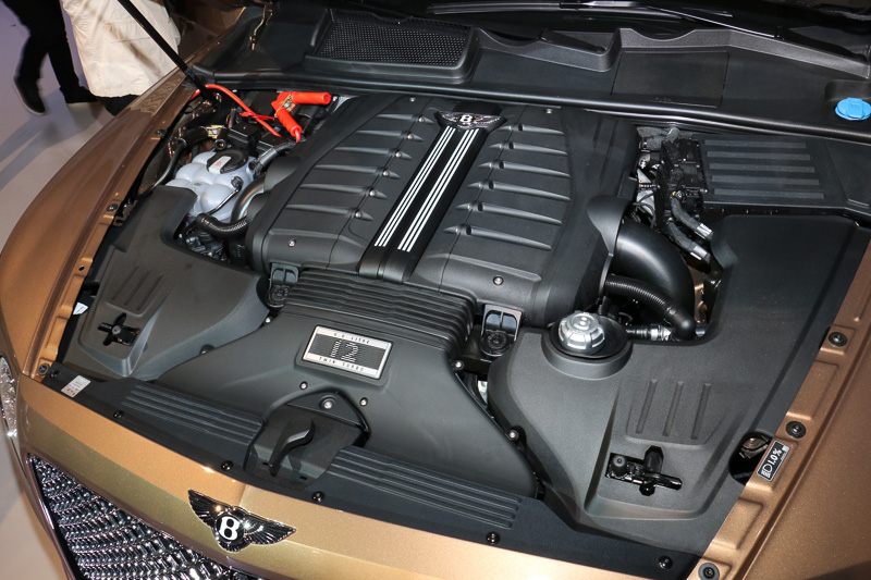 W型エンジンは同じ12気筒のV型と比較して24%ほど全長を短くでき、レイアウトの自由度が高いことも採用理由の1つ。片バンクの1基のツインスクロールターボを備えるツインターボ