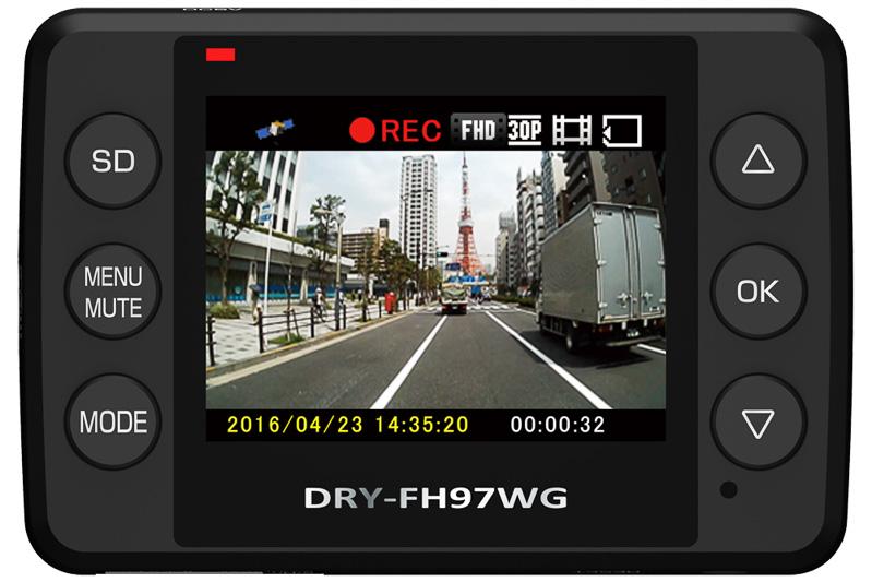 本体に備えるLEDバックライトの2.0インチTFT液晶ディスプレイでレンズが捉えている映像の画角チェックが可能。レンズ画角は対角150°、最大記録画角は対角120°(水平100°、垂直70°)