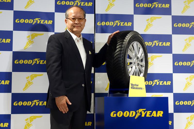 新オールシーズンタイヤ「Vector 4 Seasons Hybrid」と日本グッドイヤー株式会社 代表取締役社長の金原雄次郎氏