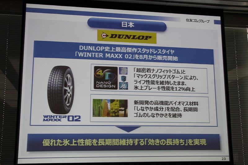 日本市場では8月1日から販売を開始した新型スタッドレスタイヤ「ウィンター マックス 02」に注力。新しいキーワード「効きの長持ち」をアピールしていく