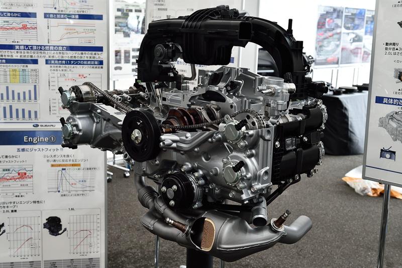 FB20エンジンのカットモデル。直噴化のほか、EGRやタンブルの強化、フリクション低減などが施されている