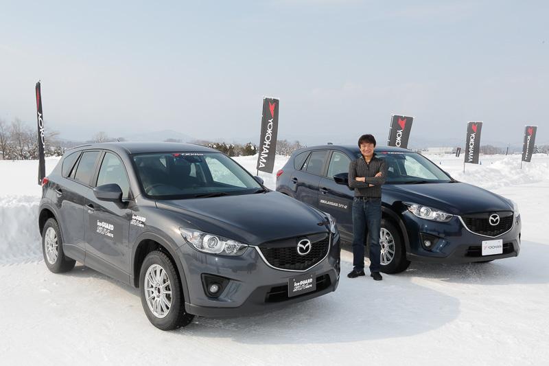 最後にマツダ「CX-5」の試乗車を使い、圧雪ハンドリング試験路でアイスガード SUV G075とジオランダー I/T-Sを乗り比べ