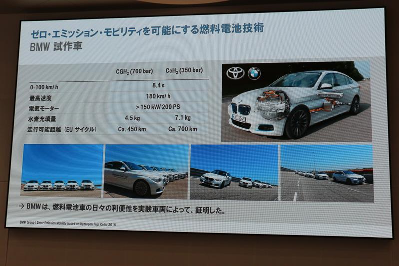 記者会見の会場にも展示されたBMWの燃料電池車プロトタイプの主なスペック。2種類のタンクシステムについて説明され、会場で展示された車両はトヨタのFCV ミライと同じ「トヨタFCスタック」を搭載しているという