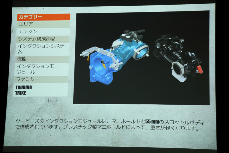 インテークマニホールドはプラスチック製となり、軽量化