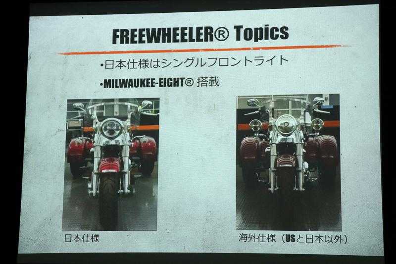 日本と米国のモデルが共通で1眼ヘッドライト、他国向けのモデルはヘッドライトが3眼になる