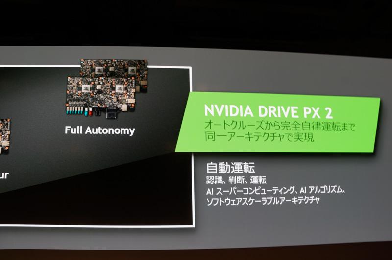 DRIVE PX2には自律運転用の大きなボードからハイウェイパイロット用の小型ボードまで3種類がラインアップされている