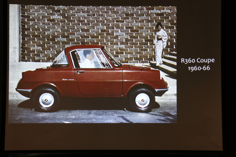 1959年12月に「機構造型課 造型係」が発足。翌1960年にマツダ初の4輪乗用車である「R360 クーペが登場した