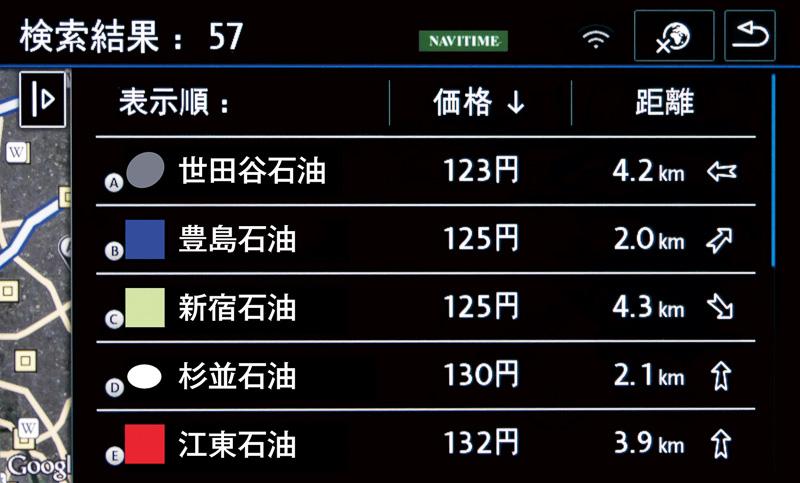 ガソリンスタンド(料金情報)画面