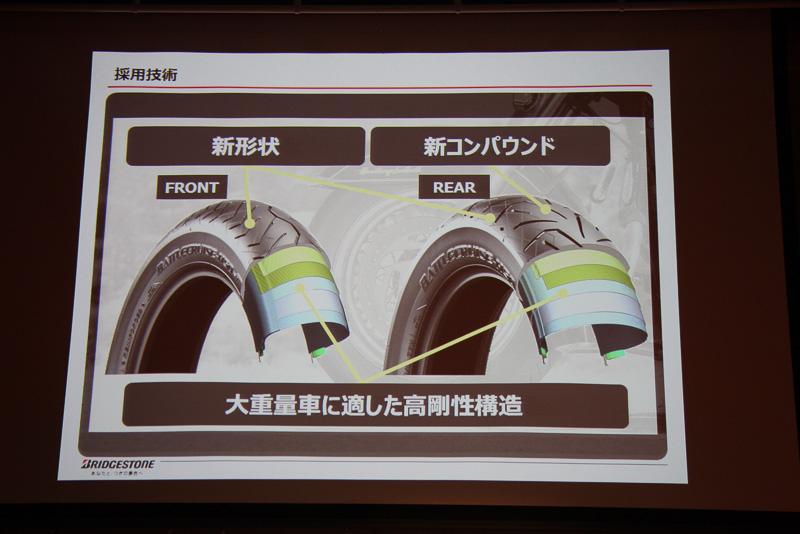 新コンパウンドはリアタイヤのみに採用。重い車体をベルテッドバイアス構造の高剛性構造で支える
