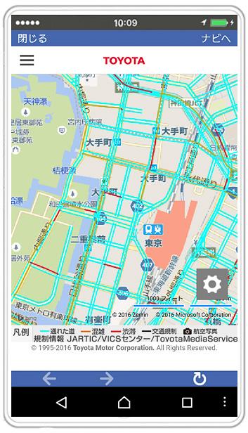 地図上に「通れた道マップ」の情報やJARTIC/VICSの交通規制情報も表示する