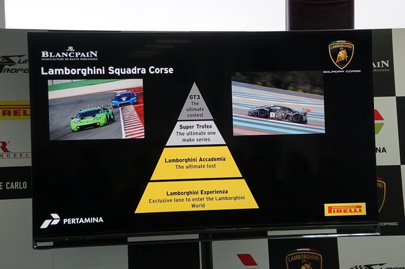 ランボルギーニのモータースポーツの構造。GT3のカスタマーレーシングを頂点に、スーパートロフェオ、育成カテゴリーなどと階層化されている