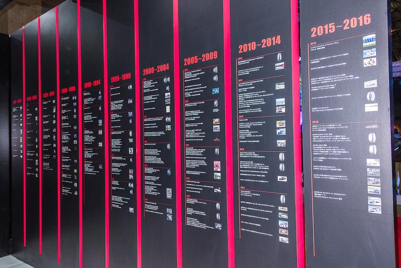 横浜ゴム100年の歴史が見られるパネル展示