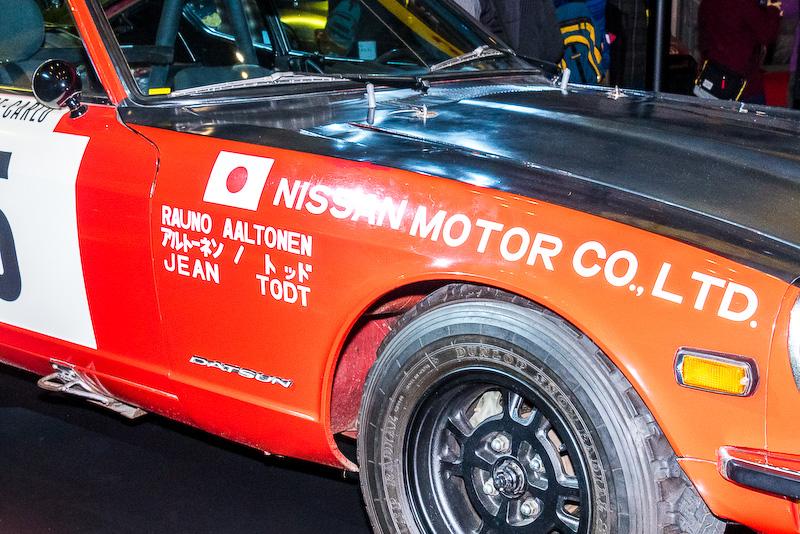 車体の側面にはドライバー「ラウノ・アルトーネン」とコ・ドライバー「ジャン・トッド(現FIA会長)」の名前が記されている