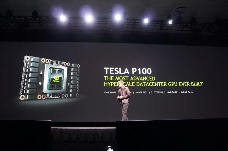 2016年4月に米国サンノゼで開催された「GTC 2016」で発表されたGP100。従来はサーバー向けのTesla P100のみで採用されていた