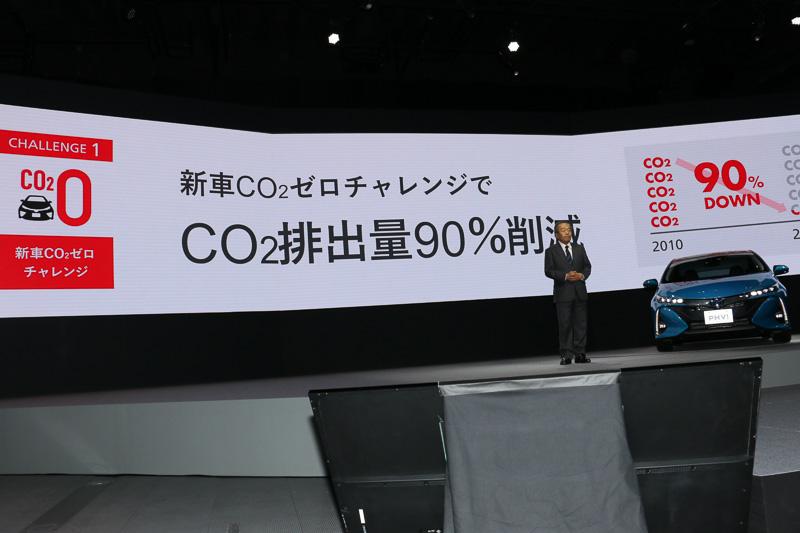 販売する新車が走行で排出するCO2を2050年に90%削減するという高いハードルをクリアするため、ハイブリッドカーに加えてEV(電気自動車)やFCV(燃料電池車)などのエコカーを増やしていくことが必要で、PHVはその本流になるとの考えを明かす内山田氏