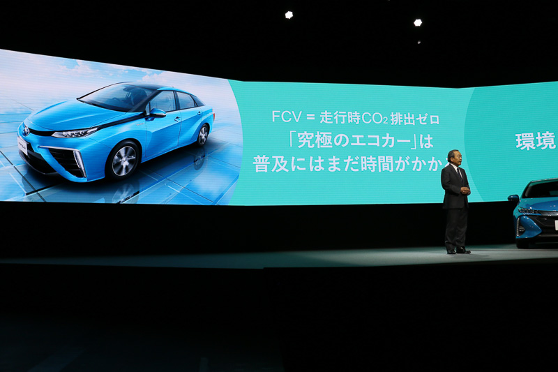 FCVやEVではなく、ハイブリッドカーの次を担うエコカーはPHVであると内山田氏は結論づけた