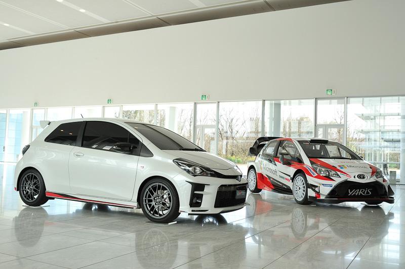 試乗会場の一角には、東京オートサロン 2017で世界初公開された「Vitz TGR Concept」(左)や、WRCの復帰第2戦で優勝して注目されている「ヤリスWRC」(右)などが展示されていた