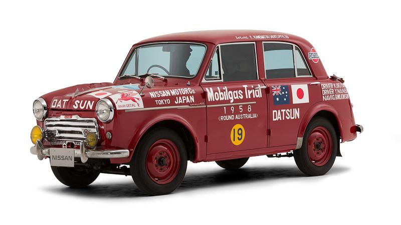 1958年「オーストラリア1周ラリー モービルガス・トライアル」Aクラス優勝車の「ダットサン 1000 セダン 富士号」