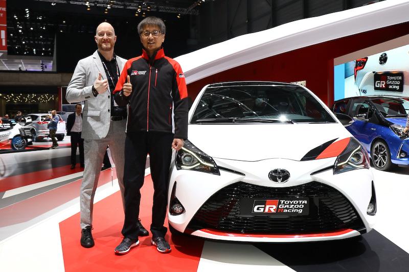 ヤリス GRMNのチーフエンジニアを務めた多田哲哉氏(右)と、ヨーロッパ側の責任者を務めたトヨタモーターヨーロッパのスタン・ピータース氏(左)
