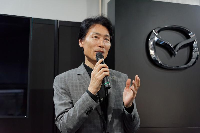 先進安全技術やCo-Pilot Conceptなどを紹介したマツダ株式会社 執行役員 車両開発本部 本部長の松本浩幸氏