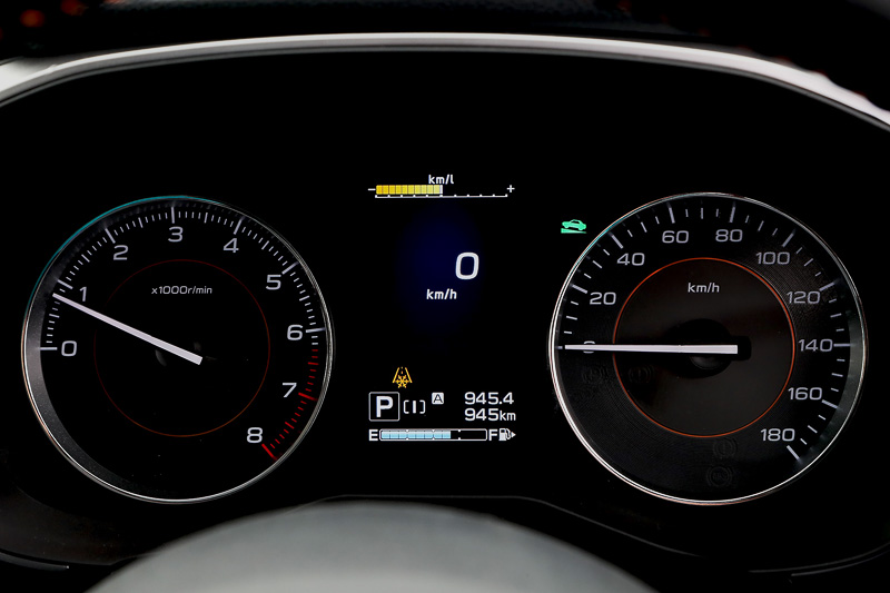 メーターパネル。シンプルなタコメーター、スピードメーターの中央にマルチファンクションディスプレイを配置