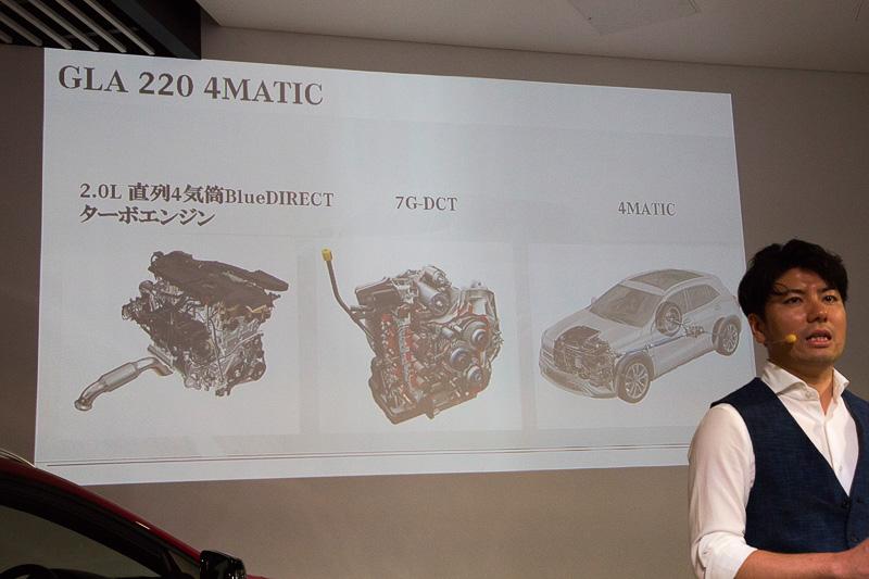 GLA 220 4MATICについての解説。エンジンは直列4気筒DOHC 2.0リッター直噴ターボでトランスミッションは7速デュアルクラッチ。駆動方式は4MATICだ。機能と装備が充実していながら、価格は「メルセデス 4MATICモデルで一番安い」という449万円