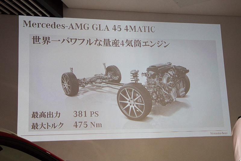 メルセデスAMG GLA 45 4MATICに搭載するエンジンは、量産車に搭載する4気筒エンジンで最もパワフルという、最高出力381PS、最大トルク475Nm