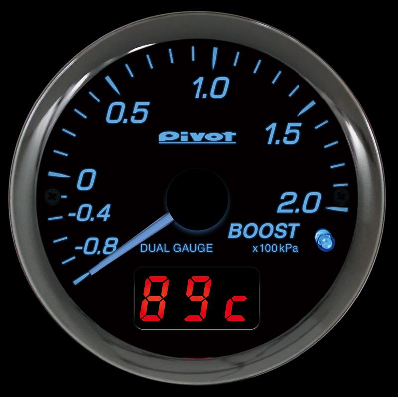 トヨタのターボ車対応の「DPB-T」は、ブースト圧をアナログで表示し、「水温」「電圧」「油温」のいずれかをデジタルで表示。別売のブーストセンサー(DP-BS、税別7800円)を追加することで、センサーから得たデータでブースト圧を表示可能