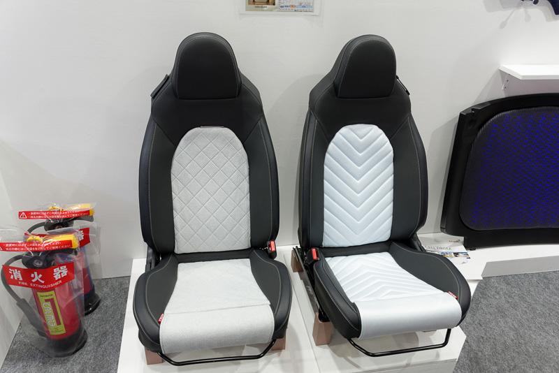 帝人の技術を背もたれと座面に応用したシート。左側が保温性のある素材を使用したもので、右側が通気性・冷感性のある素材を使用したもの。季節や気分によって簡単に変えて楽しめる