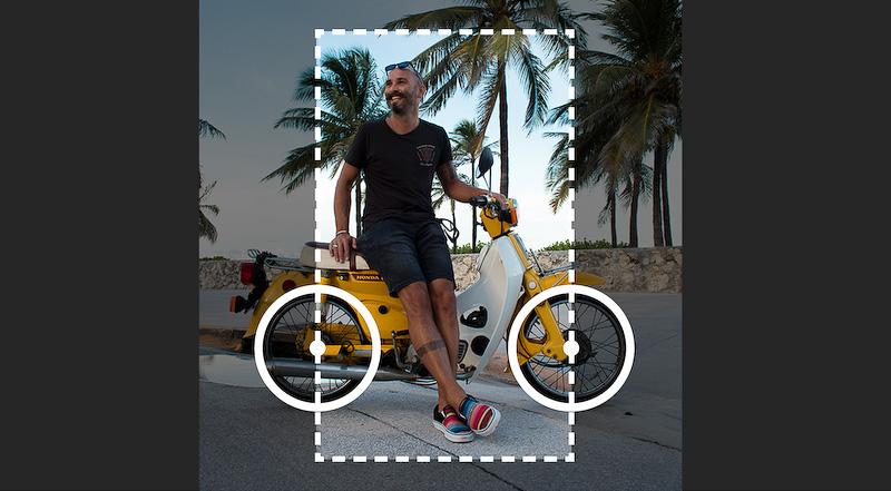 写真のサイズや角度を調整して、スーパーカブの車輪の位置をガイドにぴったり合わせる