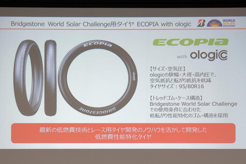 ECOPIA with ologicでは、3000kmという長距離走行に対応する耐久性と、「極限の低燃費性能」を実現しているという