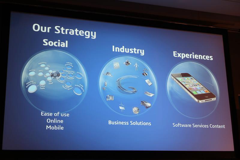 オンラインモバイル製品の使い勝手を高める「ソーシャル」、ビジネスソリューションを提供する「インダストリー」、ソフトウェアやサービスなどを用意する「エクスペリエンス」の3ジャンルで戦略を展開